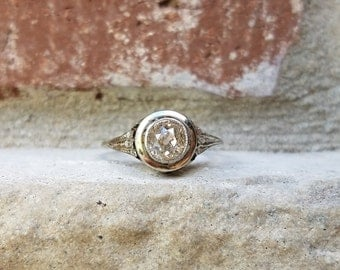 Antique Engagement Ring | Edwardian Engagement Ring with Old Mine Diamond in Bezel Mount