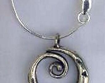 "PMC 999 Fine Silver ""Thai Swirl"" Pendant & Sterling Silver Snake Chain"