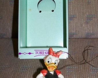 Reduced: Vintage Toriart by Anri Handcrafted Wooden Disney Daisy Duck on a Cloud Christmas Ornament #630004 in Original Box
