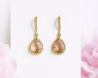 Peach wedding earrings Champagne tear drop bridal earrings Gold blush wedding earrings, CZ bridal glas drop earrings Zirconia dangle earring