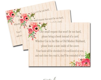 Baby Shower Book Request, Book Request Card, Baby Shower Printable Flowers INSTANT DOWNLOAD