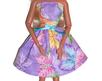 Fashion Doll Clothes-Glittery! Lavender Butterfly Print Strapless Party Dress