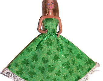 Fashion Doll Clothes-Glittery Shamrock Print Strapless Dress
