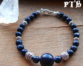 "Knowledge ~ Authentic Blue Goldstone Gemstone Bracelet 7.5"""