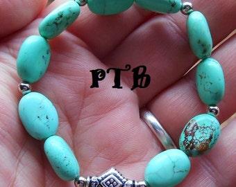 "Spiritual Attunement ~ Authentic Green Turquoise Gemstone Bracelet 7"" stretch"