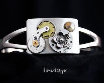 Steampunk bracelet watch movement watch parts silver colored mechanical bracelet cufflink flower unique