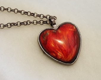 Amber Fire  Painted Heart Glass Pendant