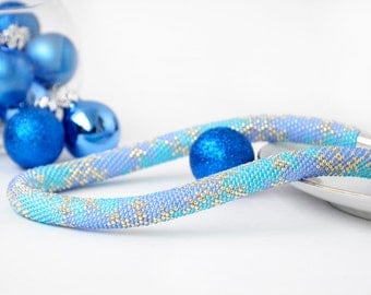 Snowflake Beaded Necklace - Winter Blue & Silver Beadwork Chunky Rope Necklace Christmas Gift for Her
