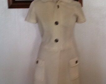 "Creamy Vintage Shirt Dress--""Butte Knit"""