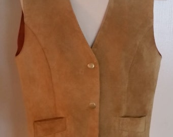 Vintage Caramel Cream Leather Vest by Laurice