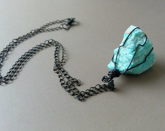 Amazonite Rustic Stone Pendant Necklace, Bohemian Jewelry, Gypsy, Oxidized Copper Wire Wrapped Stone, Teal Blue, Long,Hippie, Layering