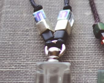 Clear Essential Oil Miyuki Cube Aromatherapy Necklace