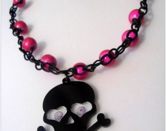 Pink and Black, Bead and Chain Skull Necklace