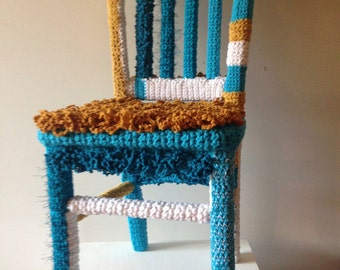 Yarn Bombed Accent Chair, Knit and Crocheted Home Furnishings, Knit Chair, Crochet Chair, Whimsical Home Furniture, Children's Chair (SOLD)