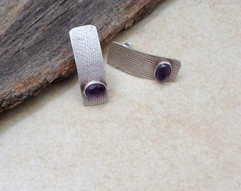 Amethyst  earrings , long  stud earrings , Sterling silver Amethyst  earrings , textured earrings , minimalist earrings