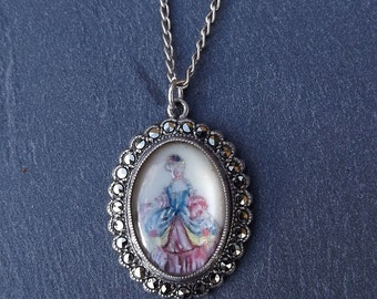 Victorian Lady Pendant by Thomas L Mott, Sterling Silver And Marcasite Hand Painted Pendant,