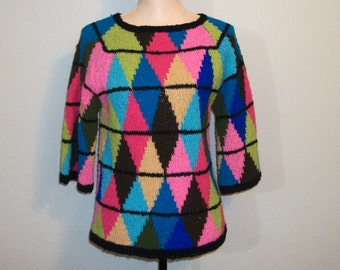 Womens Sweater Size Small Argyle Multicolor Sweater Argyle Clothing Fall Sweater Winter Sweater Colorful FREE SHIPPING Medium Women Clothing
