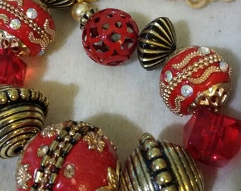 Baubles and Bling Necklace, Red, Black and Gold