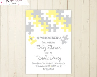coed baby shower invitation neutral baby shower invitation baby shower brunch neutral yellow grey puzzle invitate - Adoption Party Invitations