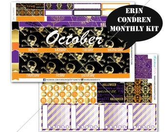 Gold HALLOWEEN Stickers MONTHLY Planner Kit, for Erin Condren Sticker,Life Planner Sticker,Monthly Sticker Kit, December planner #SQ00576-Ec