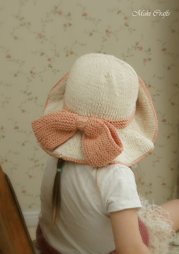 Knitting Pattern For Baby Hat With Brim : KNITTING PATTERN sun brim hat Solei with a bow baby toddler