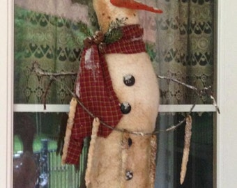 Primitive Winter Fabric Snowman with Icicles