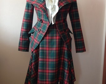 Vintage Tartan tailored suit /womens plaid jacket// lady blazer/asymmertic skirt in Westwood style