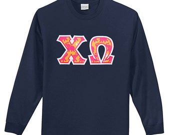 Long Sleeve Greek Letter Applique Crew Neck Tee Shirt