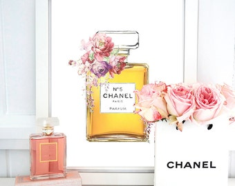 Chanel Print No 5 Perfume. Watercolor artwork. Fashion Illustration. Modern Home Décor.