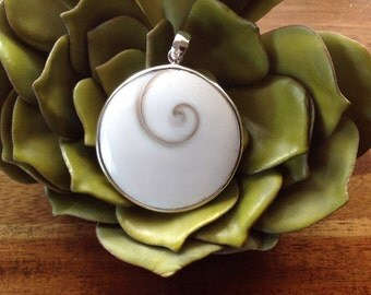 "Shiva Shell, Eye of Shiva Sterling Silver Pendant ~ Mermaids' Money ~ ""Oracle for Flow of Life"""