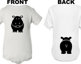 Bodysuit for baby front and back hippo on baby bodysuit cute baby shirt custom baby bodysuit hippo baby undershirt baby shower gift bodysuit