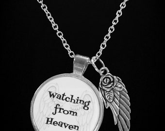 Angel Necklace, Watching From Heaven Angel Wing In Memory, Sympathy Gift, Remembrance Necklace
