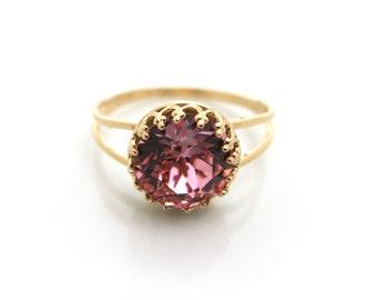 Swarovski Ring, Pink Swarovski Ring, Gold ring, Pink Crystal Ring, Bridal /Bridesmaid Jewellery, Statement Ring, Bridesmaid Gift