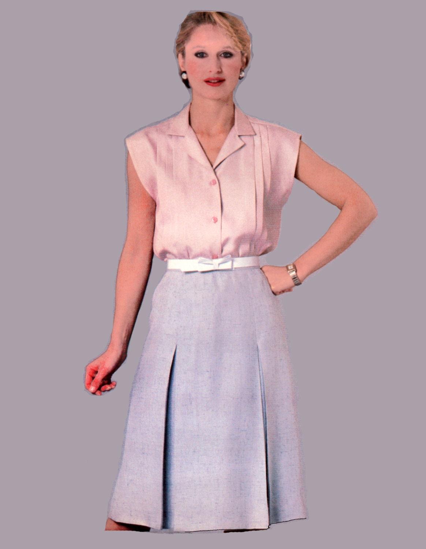 Tuck Blouse Pattern Inverted Pleat Skirt Pattern McCalls 8601