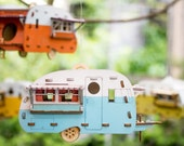 Vintage Camper Bird House. Scale model playset you can build and use! Bring back the love of travel and camping with a miniature trailer