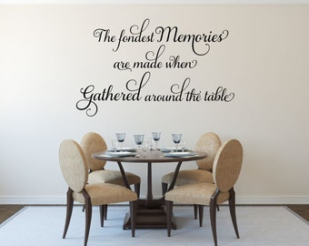 The Fondest Memories Decal Gathered Around Table Kitchen Wall Dining Room Family