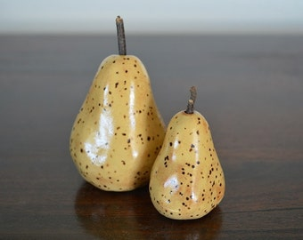 sculptural pears, pear sculpture, miniature, pottery sculpture, pears, home decor, pear decor