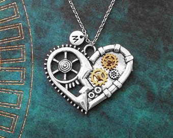 Heart Necklace LARGE Mechanical Heart Jewelry Gears and Cogs Steampunk Heart Charm Necklace Pendant Necklace Initial Steampunk Jewelry Gift