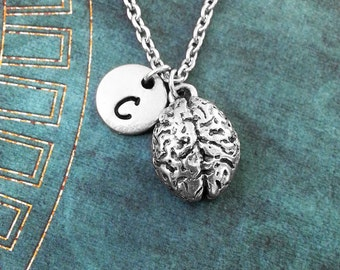 Brain Necklace SMALL Brains Necklace Personalized Jewelry Halloween Necklace Anatomical Brain Charm Human Brain Pendant Silver Brain Jewelry