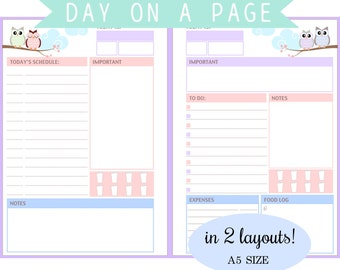 Filofax A5 - Day On A Page in 2 Layouts- To do list, Schedule, Expenses tracker, Food log and more- Instant Download