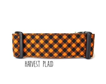Autumn Dog Collar, Boy Dog Collar, Girl Collar, Orange Plaid Dog Collar, Orange Buffalo Plaid (Upgrade to Metal Buckle or Martingale)