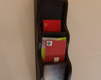 Wall Mail Organizer Letter Key Rack 3 pocket Handcrafted Wood Holder Sorter, other sizes & stains avail, Java stain or pick your color