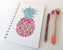 Pineapple Art - Lilly Pulitzer Inspired - Spiral Notebook Journal, Lined Notebook, Pocket Notebook