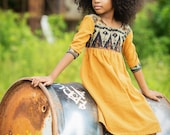 Little Girls Dress In Javanese Ikat Bohemian Style Dress In Honey Mustard 2- 6 - Scarlett
