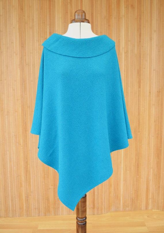 Wool Poncho, Wool Wrap Shawl, Turquoise Wool Cape, Shawl Poncho, Wool Shrug, Poncho Sweater