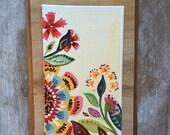 Wildflower Painting, Whimsical Garden, Botanical Painting Orange 1
