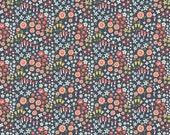Floral Woodland Spring Fabric C4992 Woodland Petal Navy, Flower Fabric, Cotton Floral Fabric, Floral Quilt Fabric, Children's Fabric