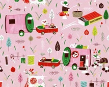 Pink Camper Fabric, Windham 40261-2 Mouse Camp, Erica Hite, Mouse Fabric, Camping Fabric, Vintage Travel Trailer, Baby Girl Quilt Fabric