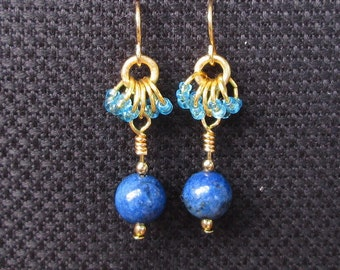 Lapis Lazuli, Sky Blue, Gold earrings, Blue and Gold gemstone earrings, Blue and Gold jewelry