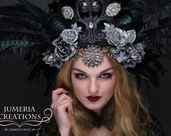 Ready to Ship huge beautiful Vampire Headdress Devil Flower Trim Faux Horns Headpiece Lady Gaga Halloween Costume